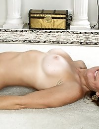 Brunette Anilos Crystal loves golf but she loves getting naked and showing her mature pussy more