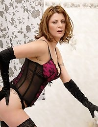 Anilos Maiky shows off her mature cougar frame in alluring lingerie and pantyhose