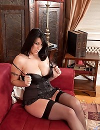 Anilos Raven pulls down her black dress exposing her sexy lingerie