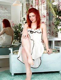 Horny mommy slips off her white nightie