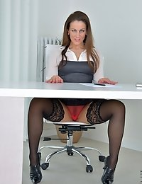 Pretty mommy flashes her sexy red panties at the office