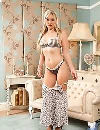 Hot Anilos blonde gives a teasing glimpse of her lingerie