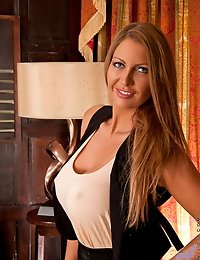Classy long haired milf has rock hard nipples in a sheer blouse