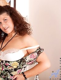 Naughty Anilos model peels off her dress and exposes her white underwear set