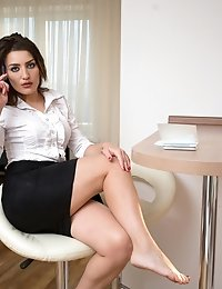 Naughty office cougar gets ready for some fun