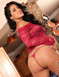 Flirty Anilos bombshell teasing and showing off her sexy red thong in the kitchen