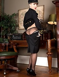 Amateur MILF in uniform teases in her see through panties